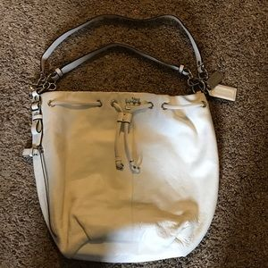 Coach white leather bucket bag
